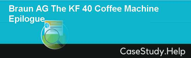 Braun AG The KF 40 Coffee Machine Epilogue