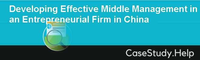 Developing Effective Middle Management in an Entrepreneurial Firm in China