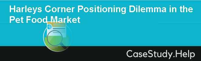 Harleys Corner Positioning Dilemma in the Pet Food Market