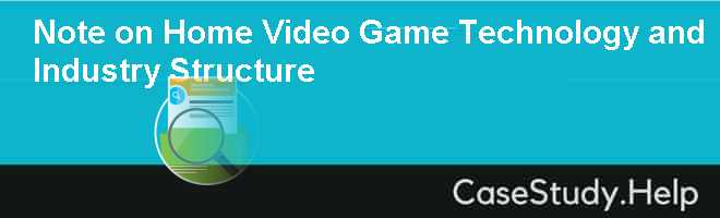 home video game industry analysis essay The structure of the video game industry is a prototypical platform market where a video game console acts as a platform to two di⁄erent end users, consumers and game developers 6 a console permits two end users to interact via its platform creating externalities for each.