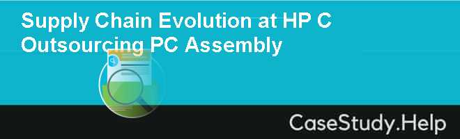 Supply Chain Evolution at HP C Outsourcing PC Assembly